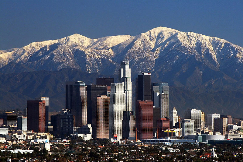 The Los Angeles Skyline with the San Gabriel Mountains in the background